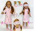 pink pajamas robe slippers eyemask doll