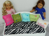 monogrammed green fleece pillow fits doll