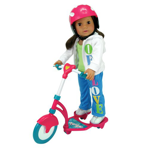 Doll Scooter And Helmet Set
