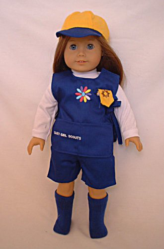 Doll Clothing Girl Scouts Daisy Uniforms. Fits American Girl Or Any Similiar 18 Dolls. Daisy Uniform. Includes: Shirt, Shorts, Apron, Hat And Matching Socks. Fits American Girl And Bitty Baby
