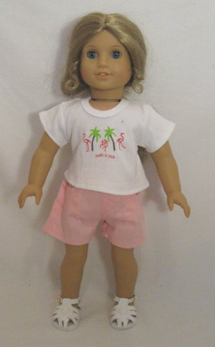 Doll Clothing Darling Little Flamingo Short Set, Bright Pink Shorts With A White Tank Top With Flamingo Design. Also Fits Bitty Baby. Fits American Girl Or Any Similiar 18 Dolls .